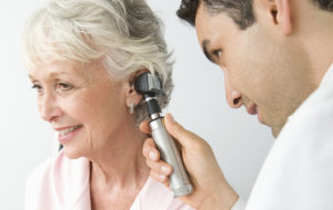 Hearing test of a woman