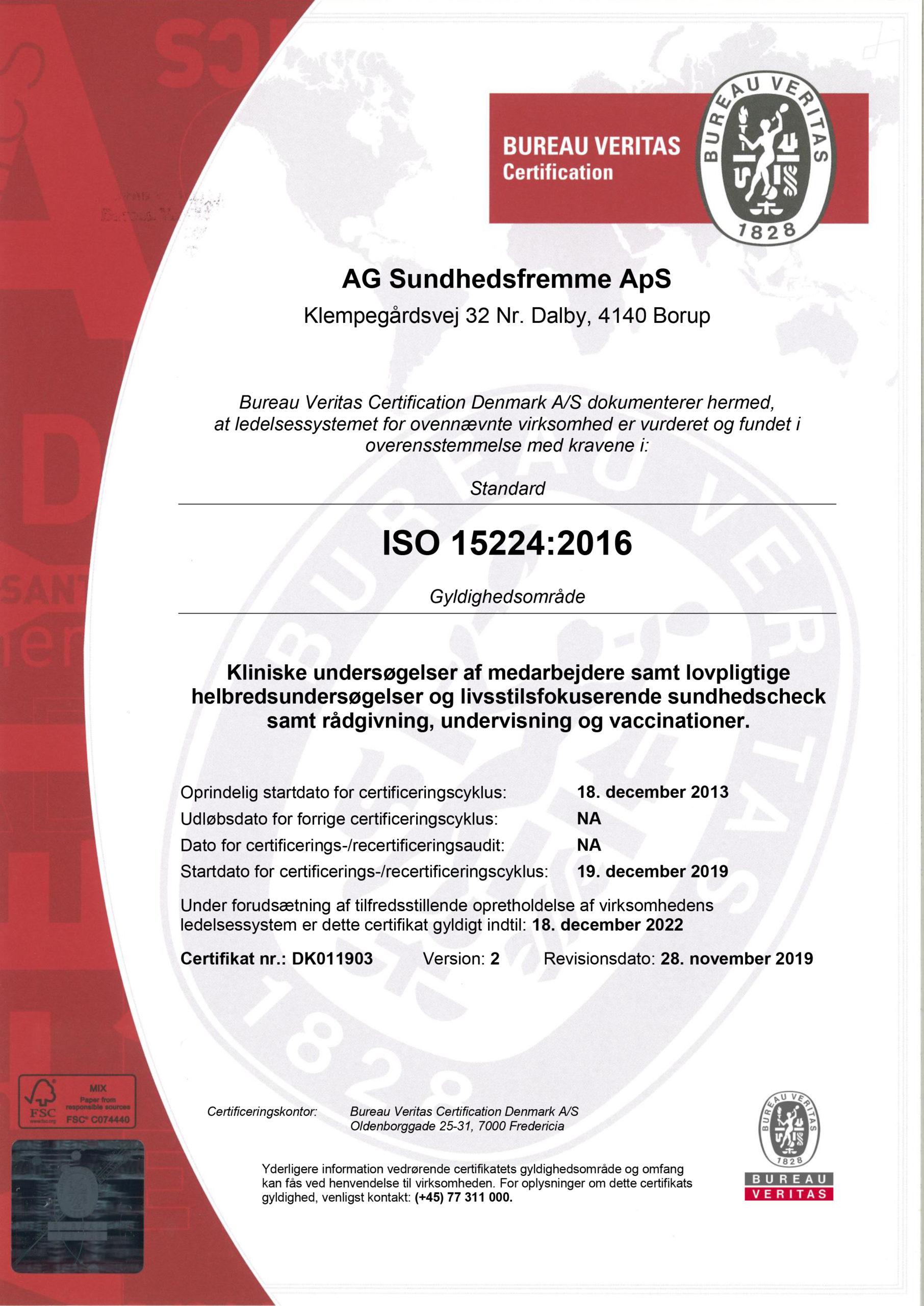 Kvalitet certificering for sundhedsydelser