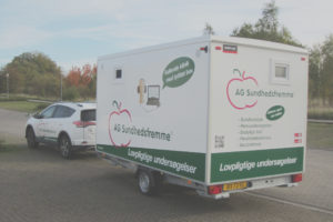 Mobile health clinic with soundproof box for hearing examinations